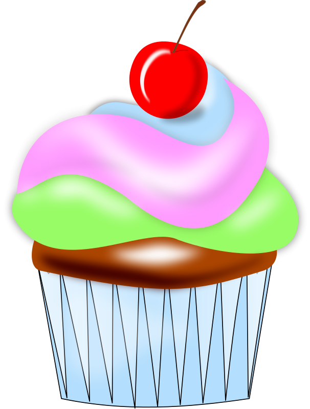 Free Colorful Cupcake with Cherry Clip Art