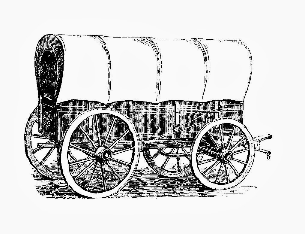 Free Covered Wagon Digital Stamps Antique Covered Wagon Graphic