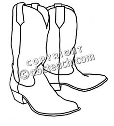 Free Cowboy boot outline   Clip Art: Western Theme: Cowboy Boots B - preview