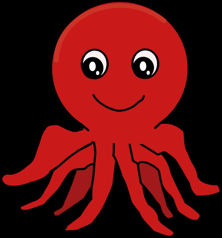 Free Happy Cartoon Octopus Clip Art