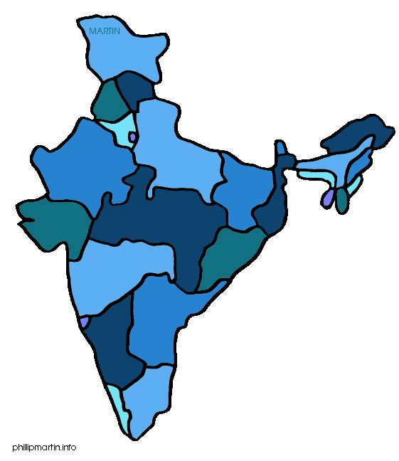 Free India Clip Art by Phillip Martin, Map of India