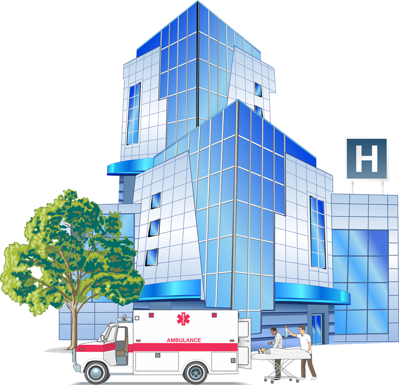 Free Modern Hospital Building Clip Art