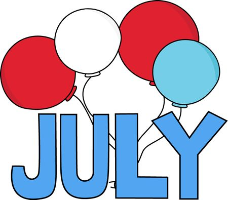 Free Month Clip Art | Red White and Blue July Clip Art Image - the word