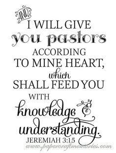 Free Pastor Appreciation verse Jeremiah 3:15 WORDart by Karen personal use only