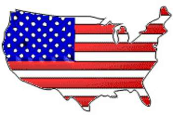 Free patriotic clipart picture of the united states colored like a