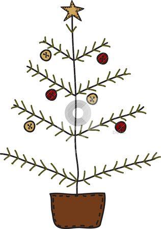 free primitive clip art | Folk Art Primitive Christmas Tree stock vector clipart, A sweet