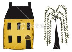 free primitive clip art | Primitive Folk Art House and Willow Royalty Free Stock Vector Art
