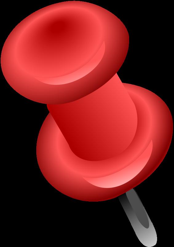 Free Red Push Pin Clip Art
