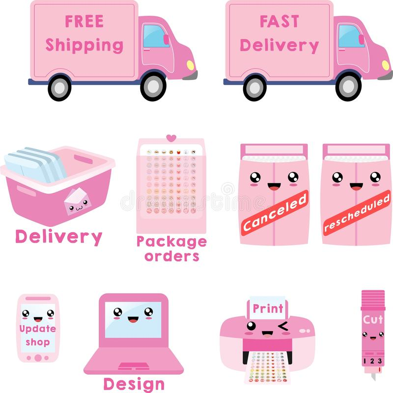 Delivery and printer clipart Vector, free shipping clipart, canceled,  rescheduled. Great for planner stickers or scrapbooking.