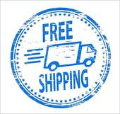 Free shipping with aeroplane · Free Shipping Stamp