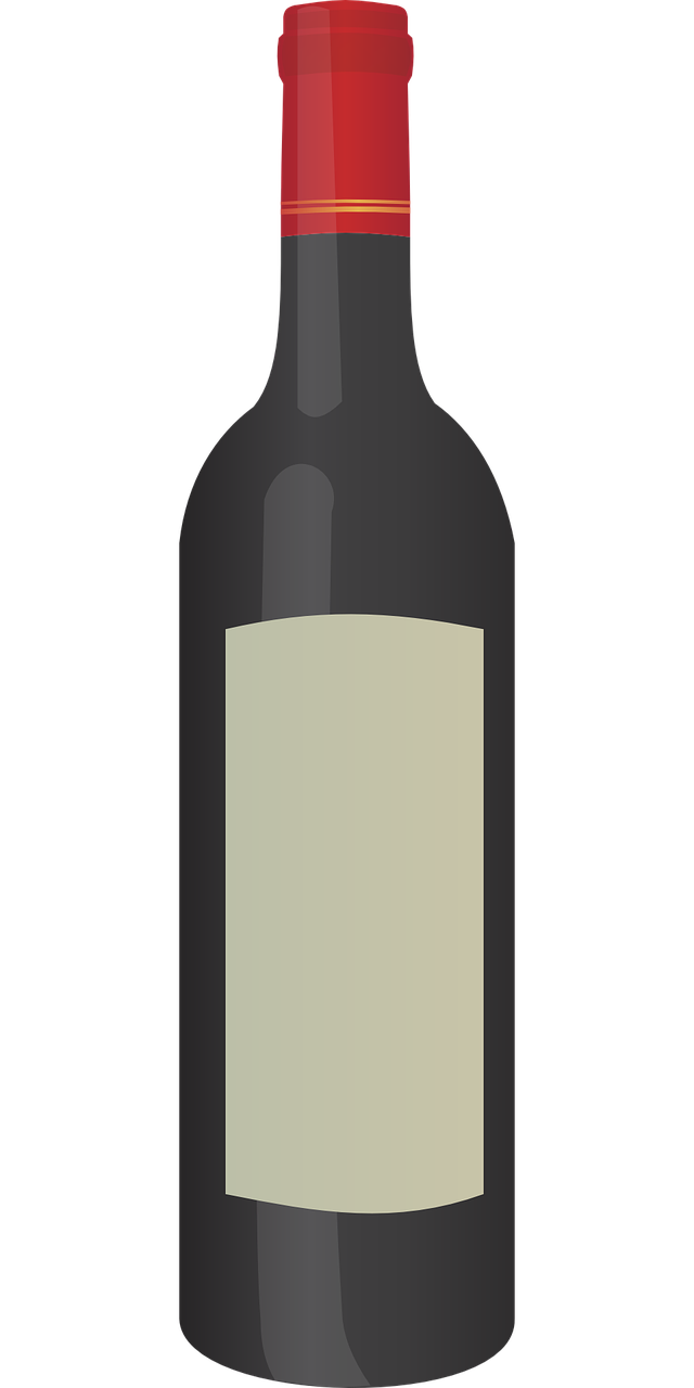 Free Simple Bottle of Red Wine Clip Art