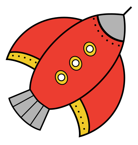 Free Simple Red Rocketship Clip Art