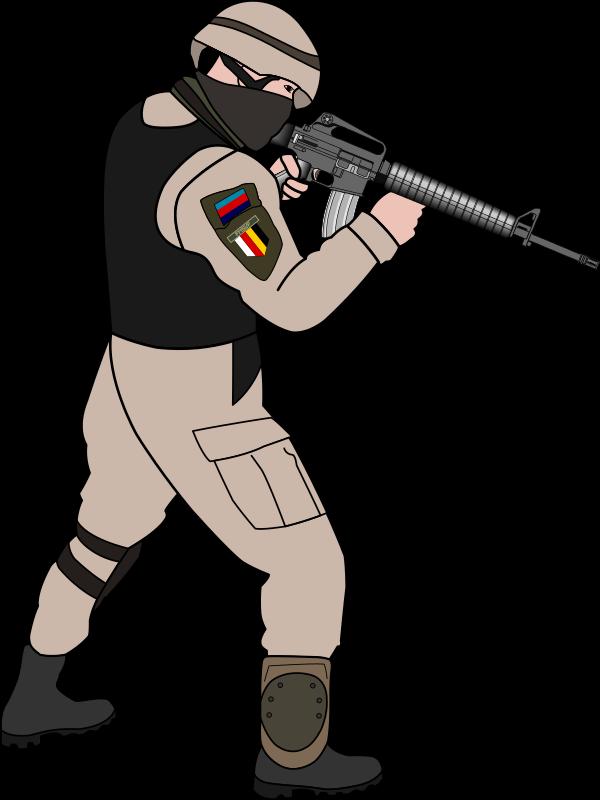 Free Soldier Pointing Gun Clip Art