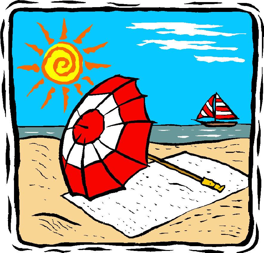 Free summer vacation clipart 2 ... Beach Umbrella By A Beach
