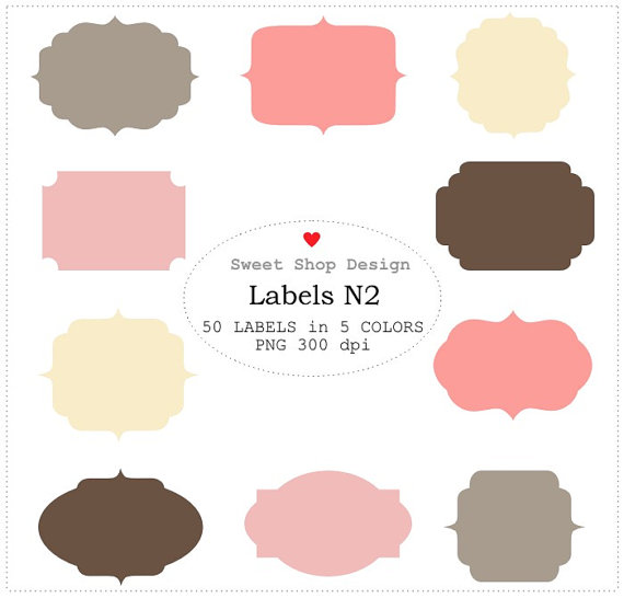50 Label or Tag Clip Art, Frames Clip Art, Royalty Free Clip Art, N02,  Instant Free Tag Clipart