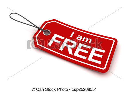 I Am Free Tag, 3d Render Stock Illustration