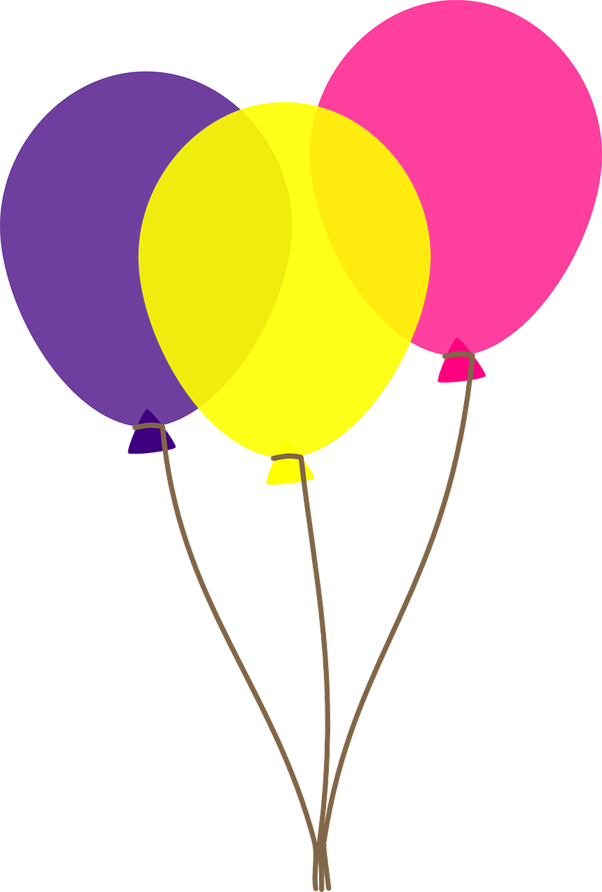 Free Three Colorful Balloons  - Balloon Clip Art