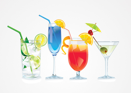 Free Vector Cocktail Glasses; Cocktail Vector Illustrations (Free)