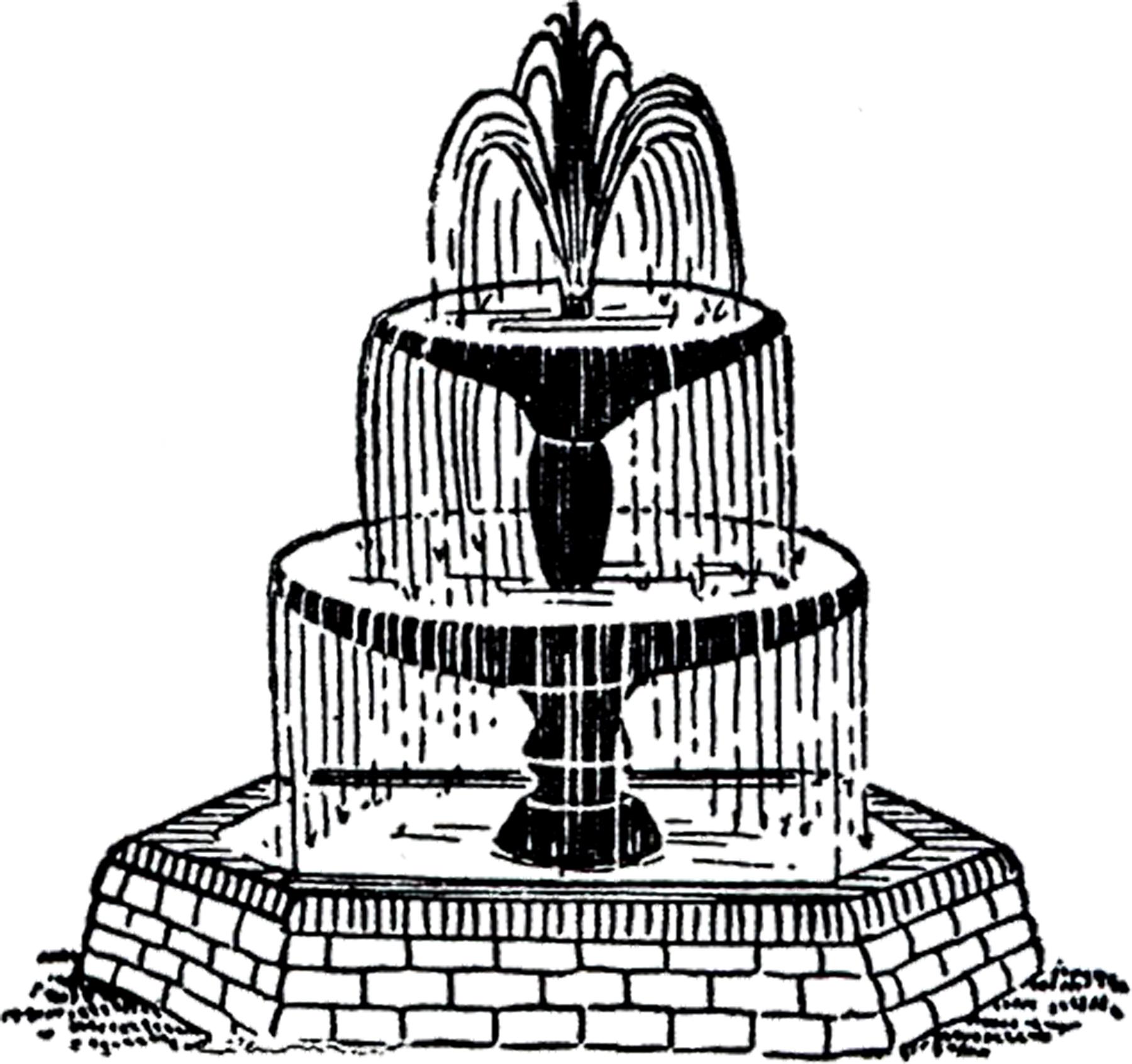 Free Vintage Fountain Clip Art!