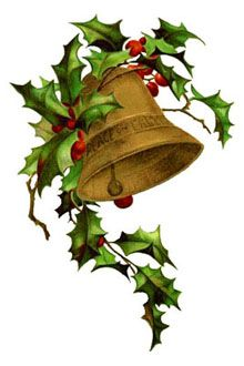 Free Vintage Free Christmas clipart - A Bell and Holly