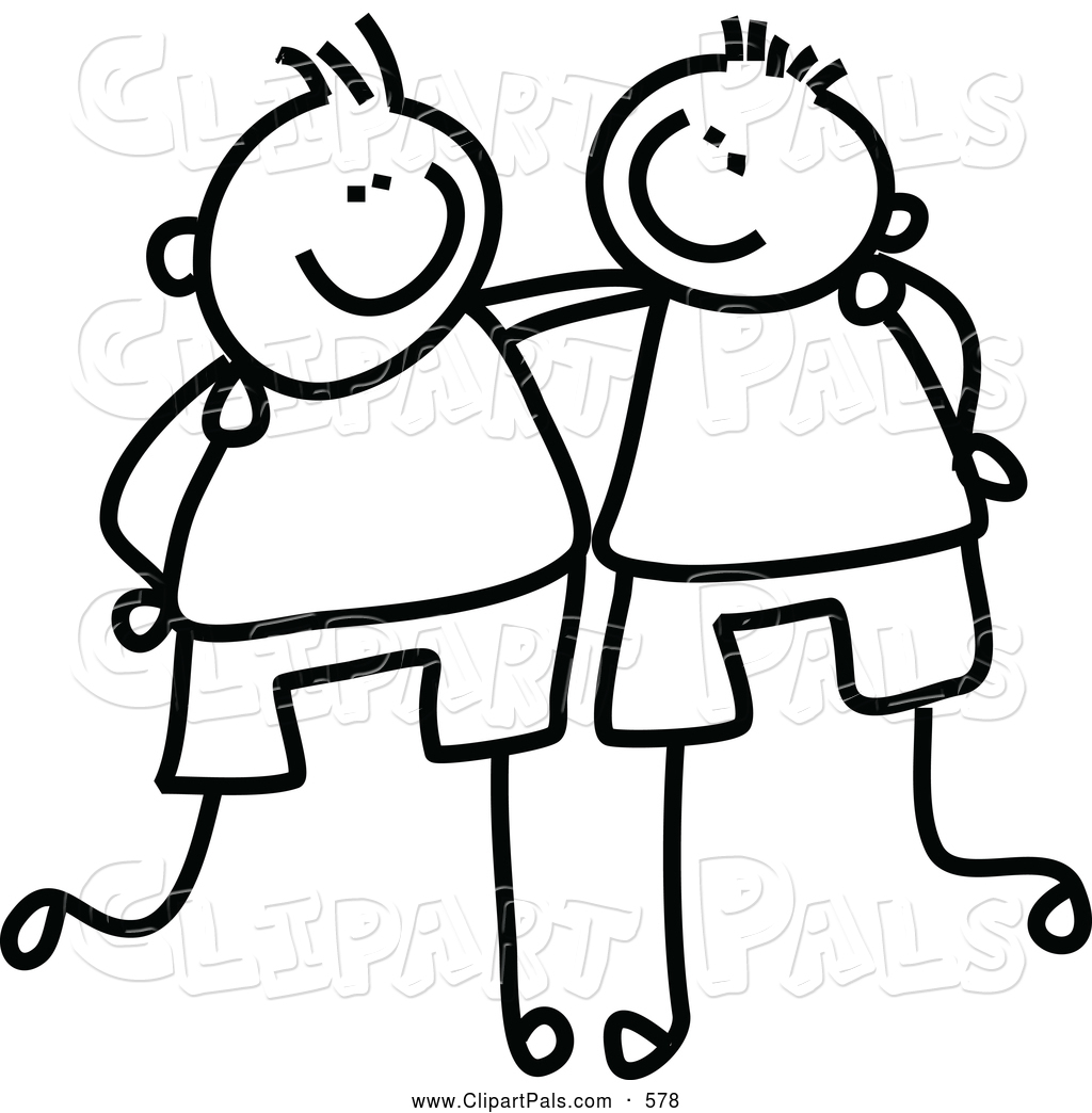 Friends Black And White Clipa - Friend Clipart