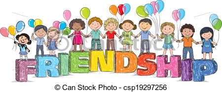 Children On The Word Friendship Vector