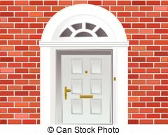 ... Front door on brick wall