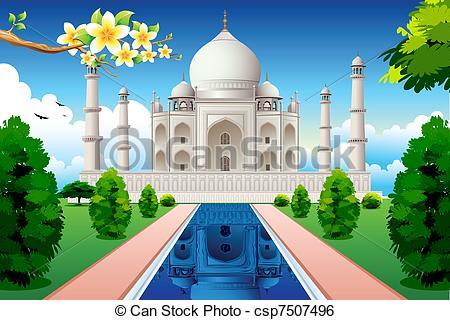 ... Front View of Taj Mahal - illustration of front view of taj.
