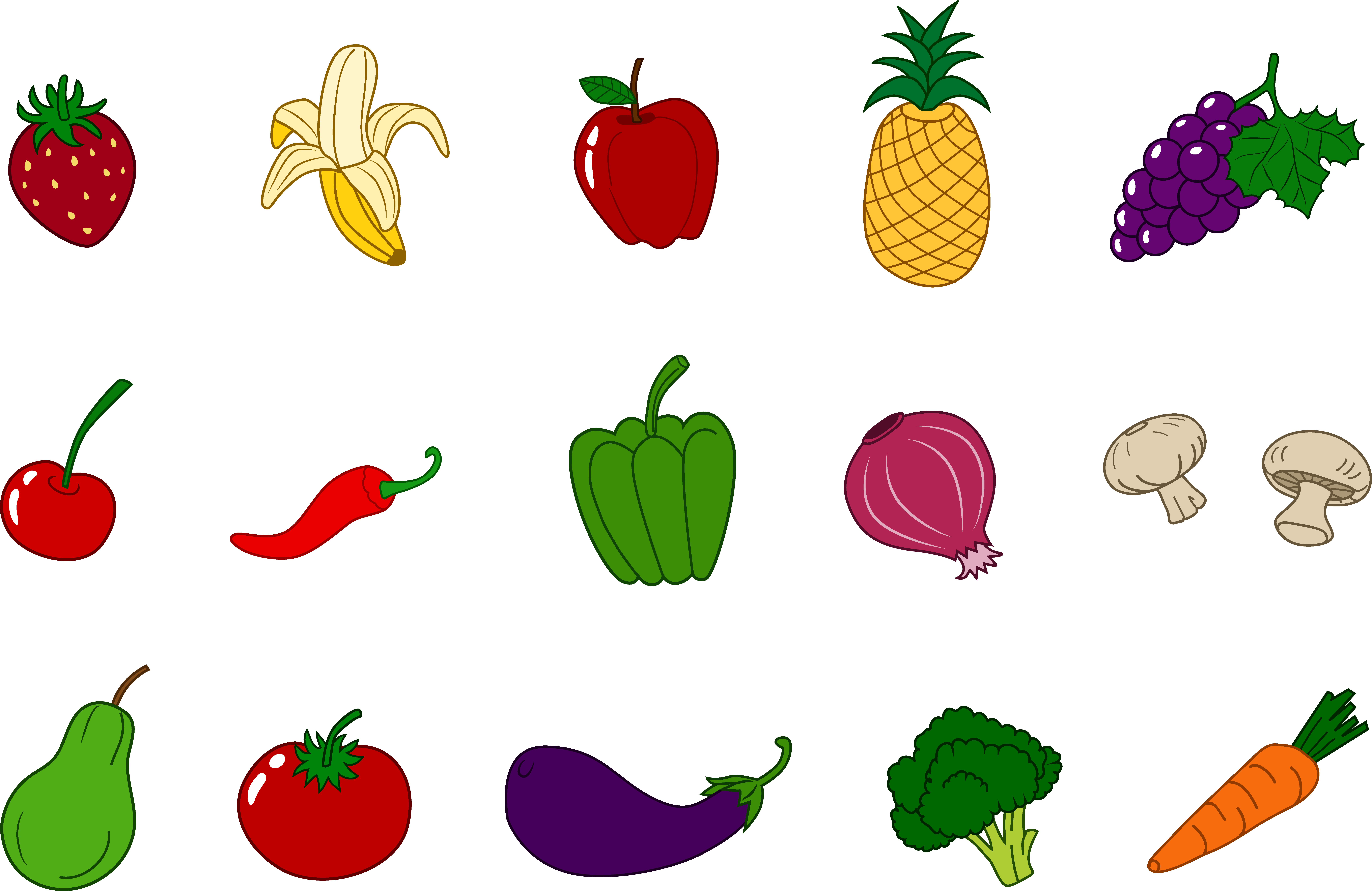 Fruits And Vegetables Clipart Set