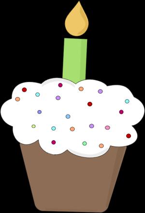 Fun Birthday Cupcake Clip Art Image Chocolate Birthday Cupcake With