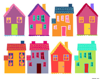 Funky Houses Clipart House Digital Clipart Instant Download Set 12