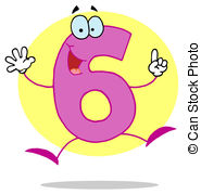 ... Funny Cartoon Numbers-6 - Friendly Pink Number 6 Six Guy