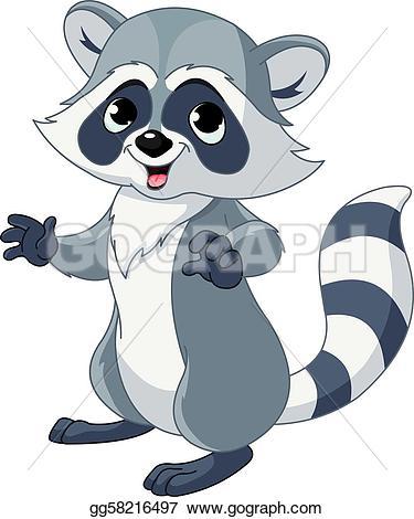 Funny cartoon raccoon