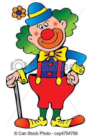 Funny clown. Vector art-illustration on a white.