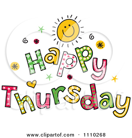 Funny Happy Thursday Clipart. Clipart Colorful Sketched .