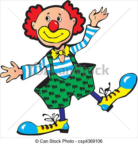 Funny red-haired clown. Vector art-illustration on.