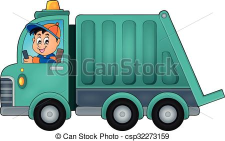 Garbage collection truck theme image 1 - eps10 vector.