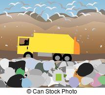 ... garbage lorry at landfill site