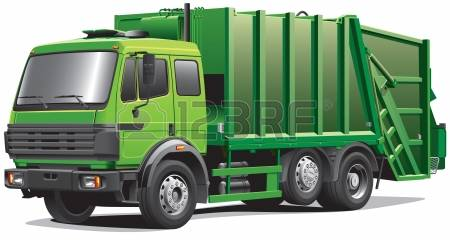 garbage truck: Detail image of modern garbage truck, isolated on white background.