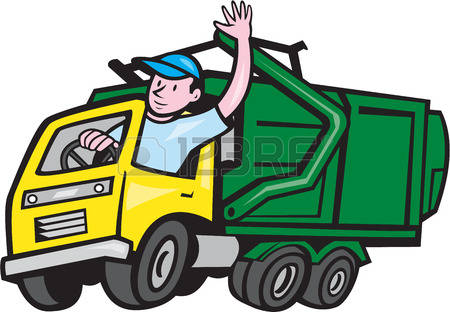 garbage truck: Illustration of a garbage rubbish truck with driver waving hello on isolated white
