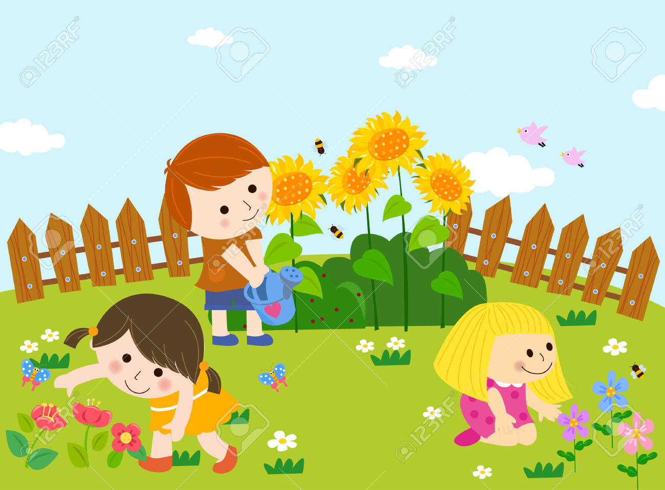 Cute kids playing in garden Stock Vector - 31929997