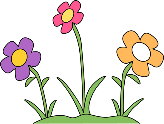 Flower Garden Clip Art Image - flower garden with purple, pink, and orange  flowers.