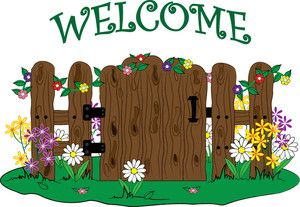 Clip art illustration of a wooden gate into a garden with flowers and a  Welcome message. Description from gardenclipart hdclipartall.com.