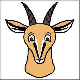 Clip Art: Cartoon Animal Faces: Gazelle Color I abcteach clipartlook.com - preview 1