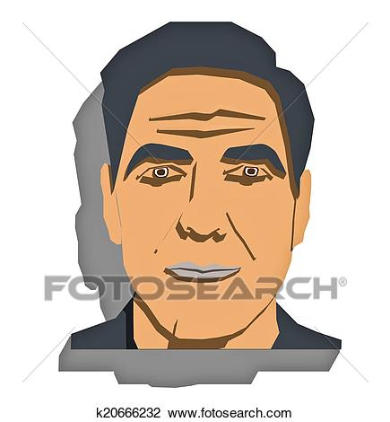 Clip Art - George Clooney portrait. Fotosearch - Search Clipart,  Illustration Posters, Drawings