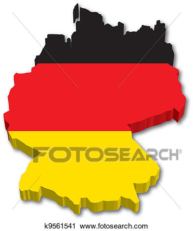3D Germany Map With Flag Illustration On White Background