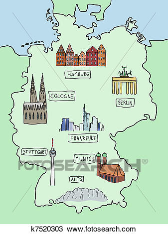 Clipart - Map of Germany. Fotosearch - Search Clip Art, Illustration  Murals, Drawings