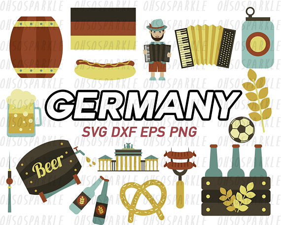 germany clipart,svg,eps,png,dxf,oktoberfest,cute,graphics,clip art,german,cut  files,cricut,silhouette,bratwurst from DesignFindStudio on Etsy Studio