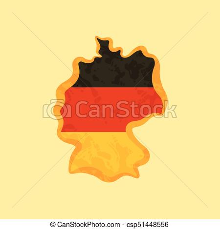 Germany - Map Colored With German Flag - Csp51448556