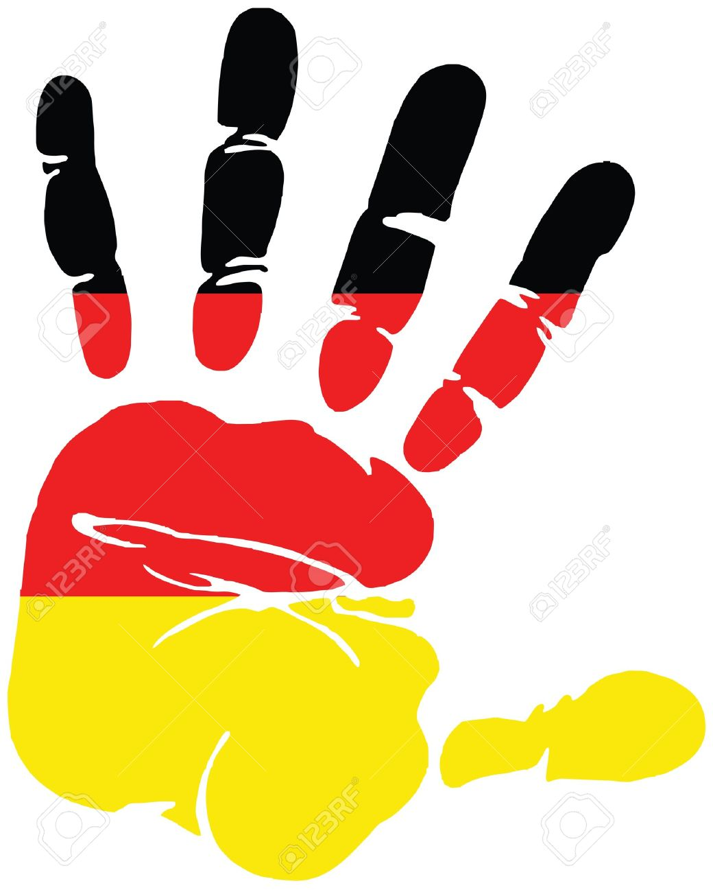 Handprint for Germany with colors of German flag Illustration